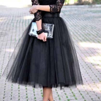 Pd249 Long Sleeve Prom Dress,Tulle Prom Dress,Mid Calf Prom Dress