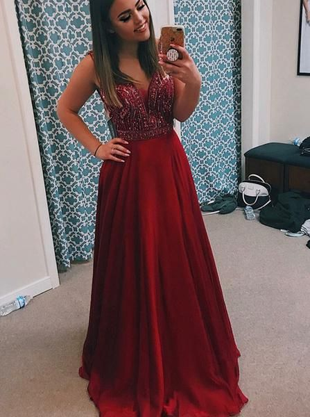 Pd90115 Red Prom Dress,Chiffon Evening Dresses,A-Line Prom Dresses,Beading Prom Gown