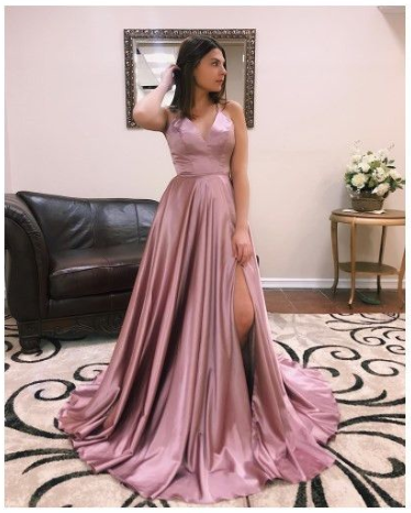 Pd90126 Charming Prom Dress,Satin Evening Dresses,A-Line Prom Dresses,Backless Prom Gown