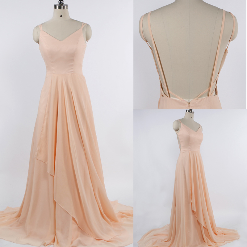 Pd61043 Charming Prom Dress,Chiffon Prom Dress,Spaghetti Straps Prom Dress,V-Neck Evening Dress