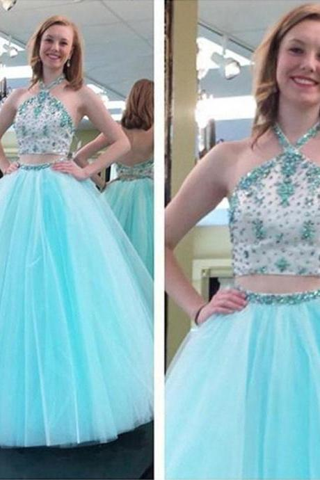 Pd70811 Charming Prom Dress,Two Pieces Prom Dress,Halter Prom Dress,Beading Evening Dress