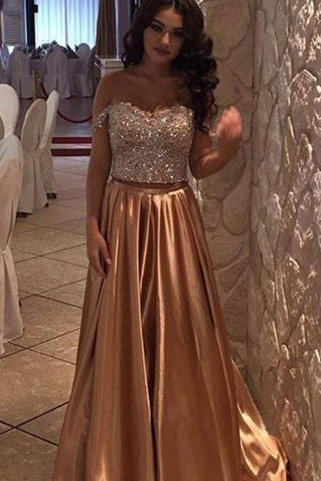 Pd70505 Charming Prom Dress,Beading Prom Dress,Two Pieces Prom Dress,Satin Evening Dress