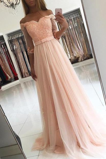 Pd70907 Charming Prom Dress,Tulle Prom Dress, Appliques Prom Dress,Half-Sleeves Evening Dress