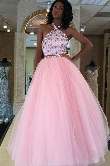 Pd70914 Charming Prom Dress,Two Pieces Prom Dress, Beading Dress,Halter Evening Dress