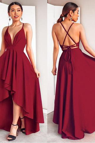 Pd81109 Charming Prom Dress,Satin Evening Dresses,A-Line Prom Dresses,Backless Prom Gown