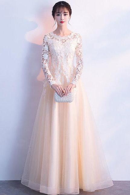 Pd81110 Charming Prom Dress,Tulle Evening Dresses,A-Line Prom Dresses,Long-Sleeves Prom Gown