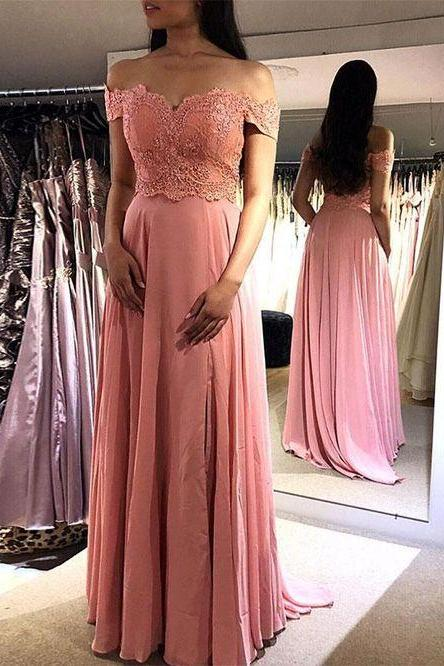 Pd81111 Charming Prom Dress,Satin Evening Dresses,A-Line Prom Dresses,Off the Shoulder Prom Gown