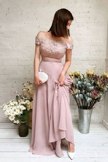 Pd81112 Charming Prom Dress,Chiffon Evening Dresses,A-Line Prom Dresses,Off the Shoulder Prom Gown