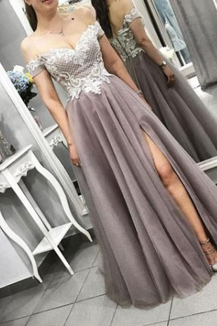 Pd81113 Charming Prom Dress,Tulle Evening Dresses,A-Line Prom Dresses,Off the Shoulder Prom Gown