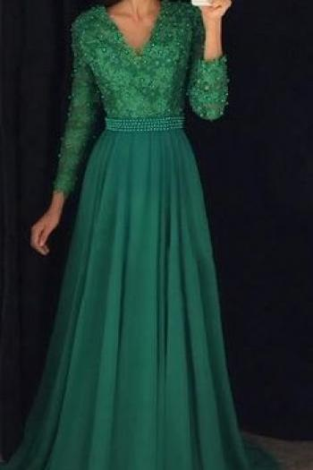 Pd81115 Green Prom Dress,Chiffon Evening Dresses,A-Line Prom Dresses,V-Neck Prom Gown