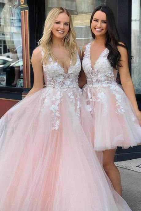 Pd81119 Pink Prom Dress,Tulle Evening Dresses,A-Line Prom Dresses,Appliques Prom Gown