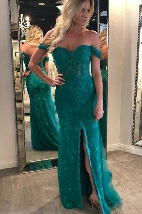 Pd81122 Charming Prom Dress,Lace Evening Dresses,Mermaid Prom Dresses,Off the Shoulder Prom Gown