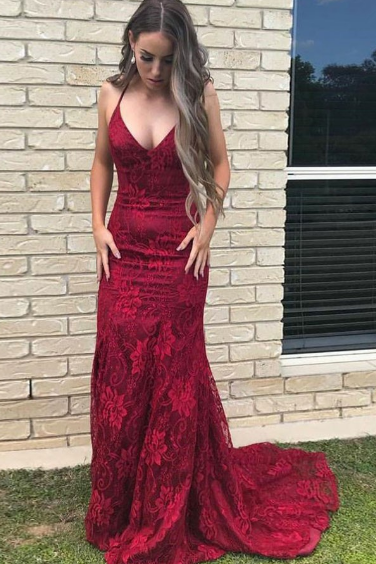 Pd81126 Burgundy Prom Dress,Lace Evening Dresses,Mermaid Prom Dresses,Spaghetti Straps Prom Gown