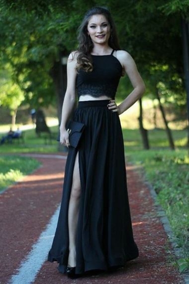 Pd81129 Black Prom Dress,Two Pieces Evening Dresses,Satin Prom Dresses,A-Line Prom Gown