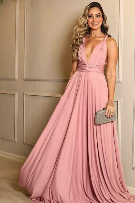 Pd90101 Pink Prom Dress,Chiffon Evening Dresses,A-Line Prom Dresses,V-Neck Prom Gown