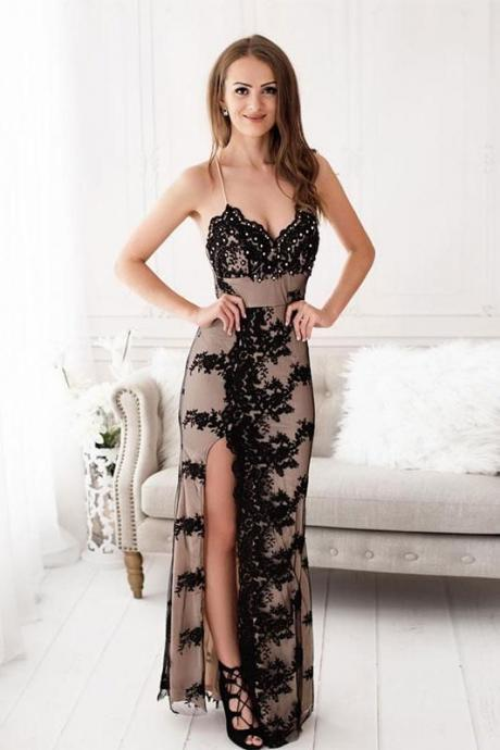 Pd90106 Black Prom Dress,Lace Evening Dresses,Mermaid Prom Dresses,Spaghetti Straps Prom Gown