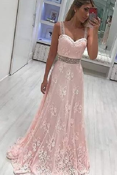 Pd90114 Pink Prom Dress,Lace Evening Dresses,A-Line Prom Dresses,Beading Prom Gown