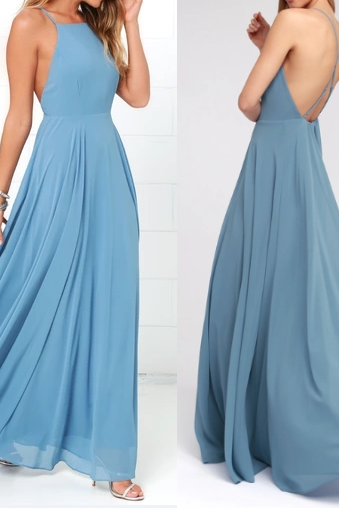 Pd90117 Blue Prom Dress,Chiffon Evening Dresses,A-Line Prom Dresses,Backless Prom Gown