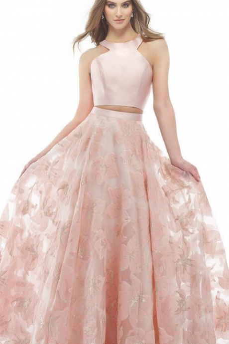 Pd90118 Pink Prom Dress,Two Pieces Evening Dresses,A-Line Prom Dresses,Lace Prom Gown