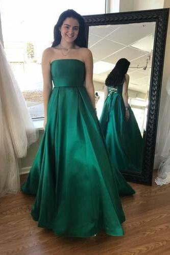 Pd90120 Green Prom Dress,Satin Evening Dresses,A-Line Prom Dresses,Strapless Prom Gown