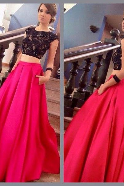 Pd01051 Charming Prom Dress,Two pieces Prom Dress,A-Line Prom Dress,Lace Prom Dress,Backless Evening Dress
