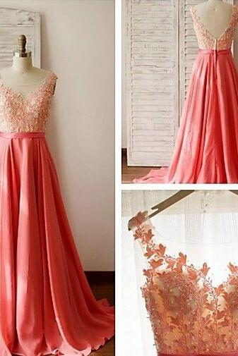 Pd601011 Charming Prom Dress,O-Neck Prom Dress,Appliques Prom Dress,Chiffon Prom Dress,A-Line Evening Dress