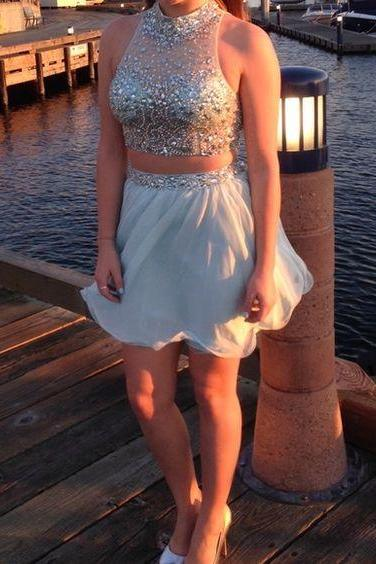 Gd604218 Beauty Graduation Dress,Short Prom Dress,Two Pieces Homecoming Dress,Chiffon Prom Dres