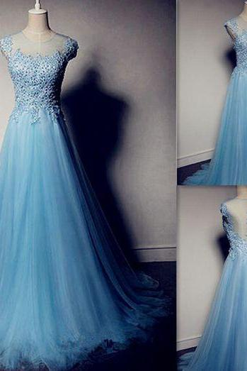 Pd605181 High Quality Prom Dress,Tulle Prom Dress,Beading Prom Dress,O-Neck Prom Dress, Charming Prom Dress