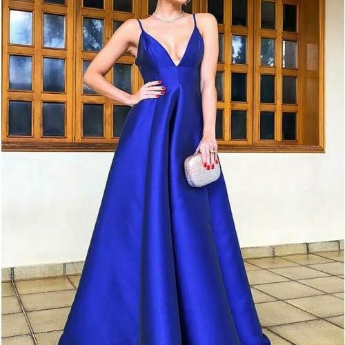 Pd90102 Blue Prom Dress,Satin Evening Dresses,A-Line Prom Dresses,V-Neck Prom Gown