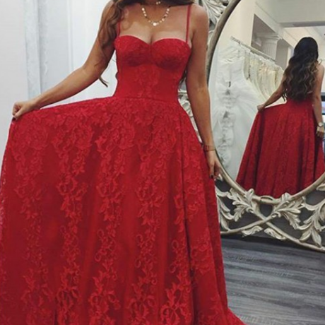 Pd90111 Red Prom Dress,Lace Evening Dresses,Spaghetti Straps Prom Dresses,A-Line Prom Gown