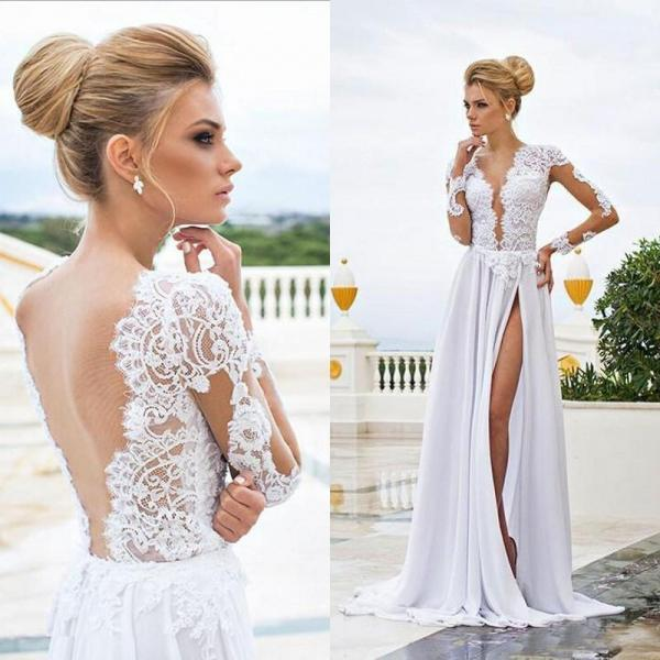Pd90112 White Prom Dress,Chiffon Evening Dresses,Backless Prom Dresses,Long-sleeves Prom Gown