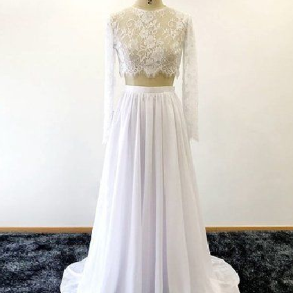 Pd90113 White Prom Dress,Chiffon Evening Dresses,Two Pieces Prom Dresses,Long-sleeves Prom Gown