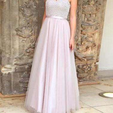 Pd90123 Charming Prom Dress,Tulle Evening Dresses,A-Line Prom Dresses,Beading Prom Gown