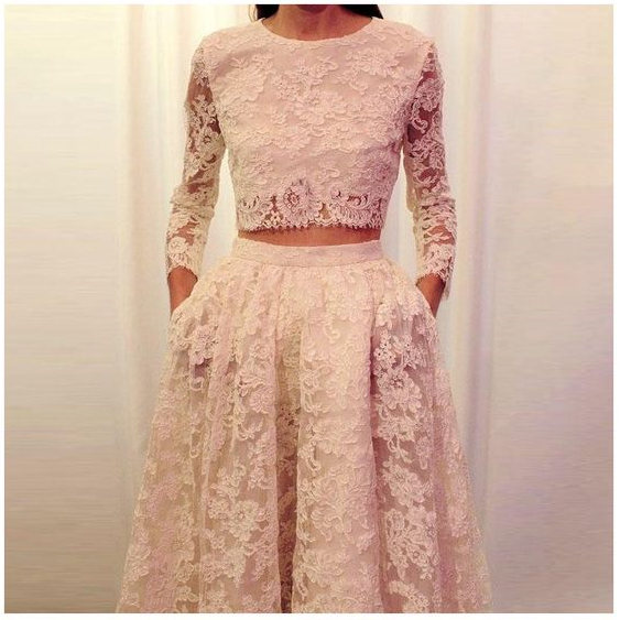 Pd90124 Charming Prom Dress,Lace Evening Dresses,Two Pieces Prom Dresses,A-Line Prom Gown