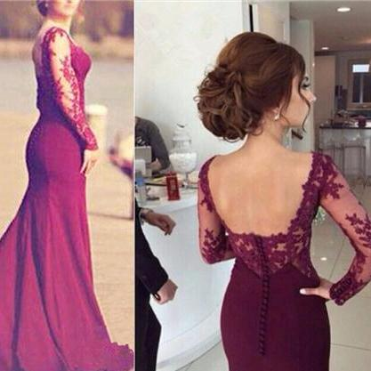 Pd12145 Charming Prom Dress,O-Neck Prom Dress,Sexy Mermaid Prom Dress,Appliques Prom Dress,Long-Sleeves Prom Dress