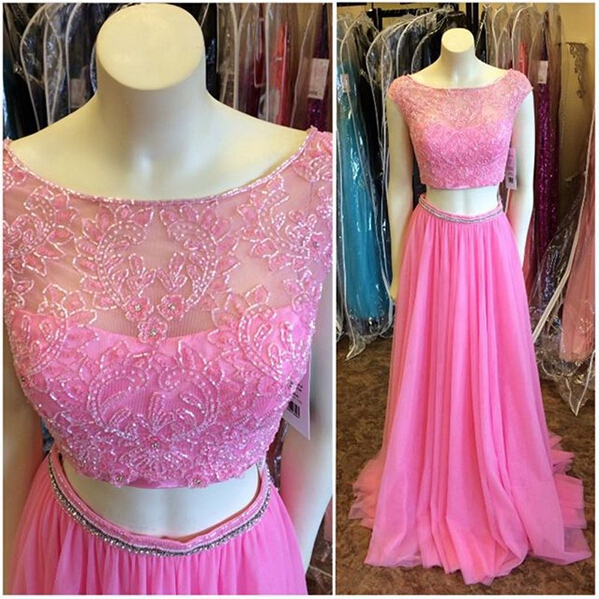 Pd12214 Charming Prom Dress,Two Pieces Prom Dress,A-Line Prom Dress,Beading Prom Dress,O-Neck Prom Dress