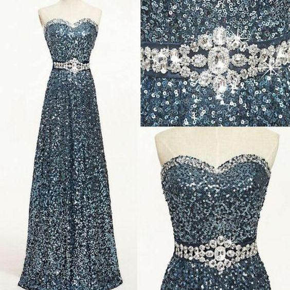 Sweetheart Sequined A-line Floor-Length Prom Dress. Evening Dress