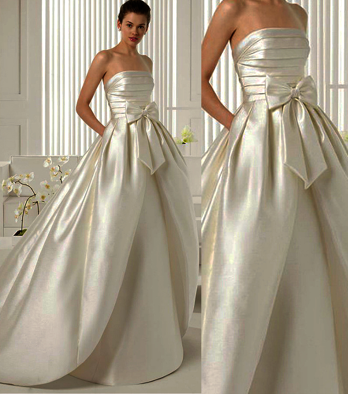Wd182 Satin Wedding Dress Strapless Wedding Dress